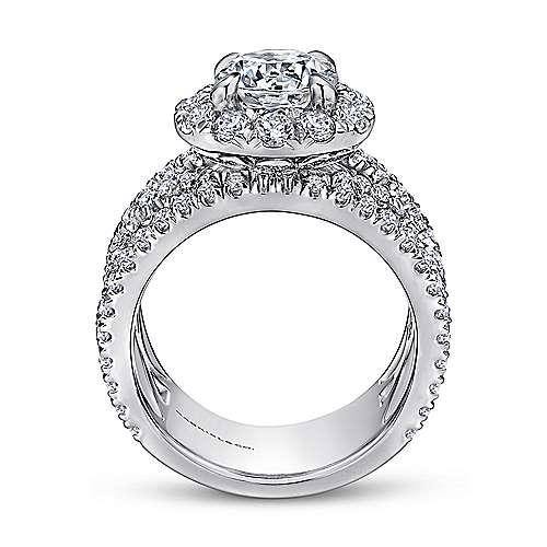 Angelou 18k White Gold Round Halo Engagement Ring angle 2
