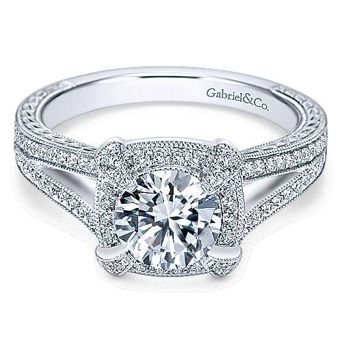 Gabriel - Angie 14k White Gold Round Halo Engagement Ring