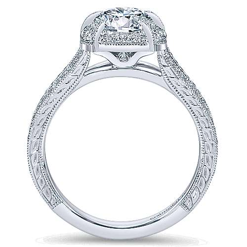 Angie 14k White Gold Round Halo Engagement Ring angle 2