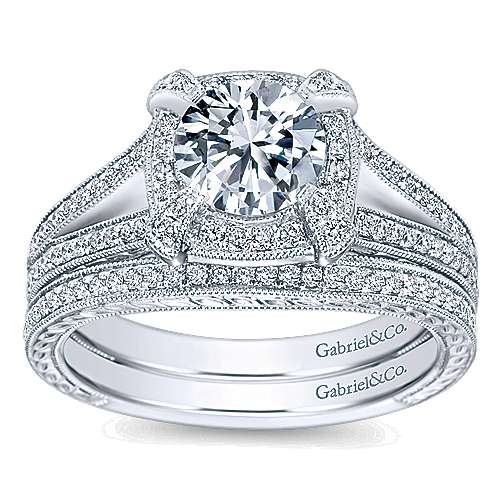 Angie 14k White Gold Round Halo Engagement Ring angle 4