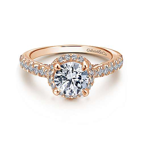 Gabriel - Anise 14k Rose Gold Round Halo Engagement Ring