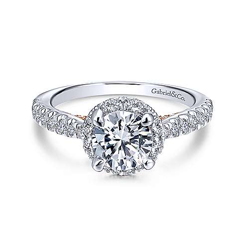 Gabriel - Anise 14k White And Rose Gold Round Halo Engagement Ring
