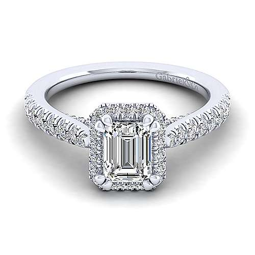 Gabriel - Anise 14k White Gold Emerald Cut Halo Engagement Ring