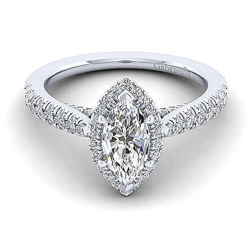 Gabriel - Anise 14k White Gold Marquise  Halo Engagement Ring