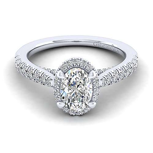 Gabriel - Anise 14k White Gold Oval Halo Engagement Ring