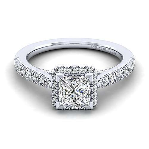Gabriel - Anise 14k White Gold Princess Cut Halo Engagement Ring