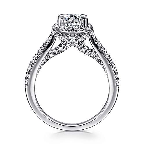 Anise 14k White Gold Round Halo Engagement Ring angle 2
