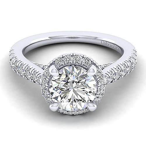 Gabriel - Anise 14k White Gold Round Halo Engagement Ring