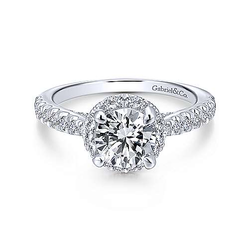 Gabriel - Anise 18k White Gold Round Halo Engagement Ring