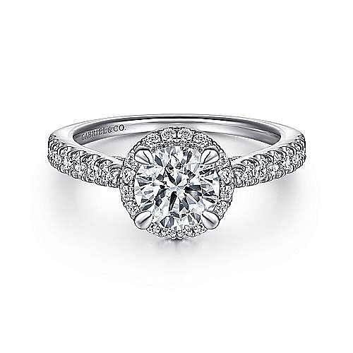 Gabriel - Anise Platinum Round Halo Engagement Ring