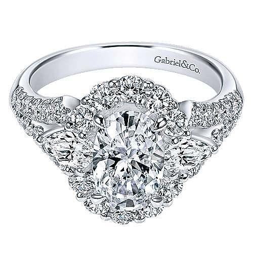 Gabriel - Anita 18k White Gold Oval Halo Engagement Ring