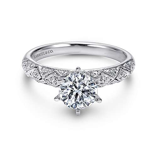 Gabriel - Anna 14k White Gold Round Straight Engagement Ring