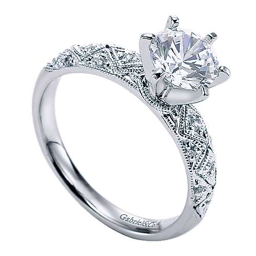 Anna 14k White Gold Round Straight Engagement Ring angle 3