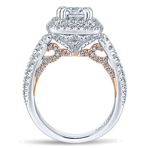 Annabella 18k White And Rose Gold Cushion Cut Double Halo Engagement Ring angle 2