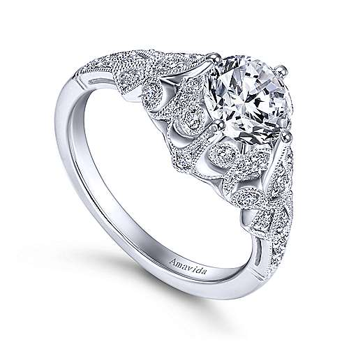 Annabeth Platinum Round Straight Engagement Ring angle 3