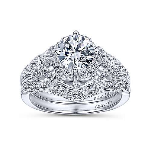 Annabeth Platinum Round Straight Engagement Ring angle 4