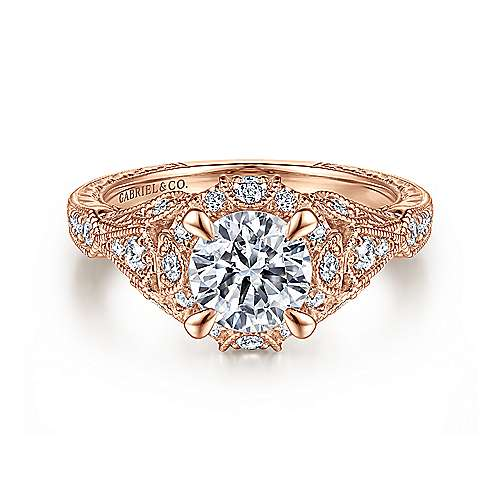 Gabriel - Annadale 14k Rose Gold Round Halo Engagement Ring