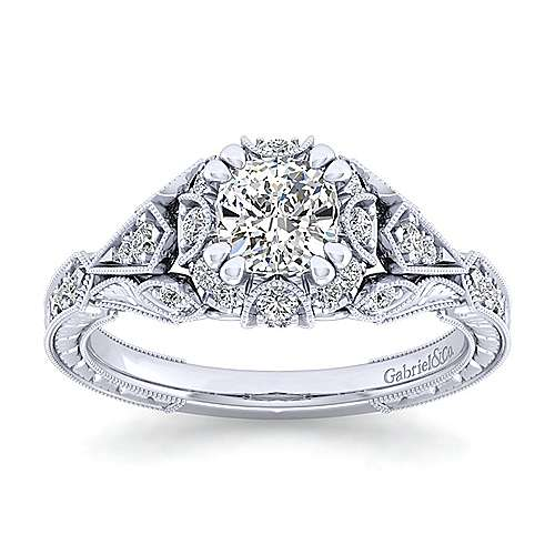 Annadale 14k White Gold Cushion Cut Halo Engagement Ring