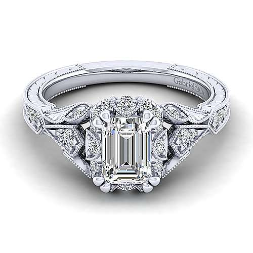 Gabriel - Annadale 14k White Gold Emerald Cut Halo Engagement Ring