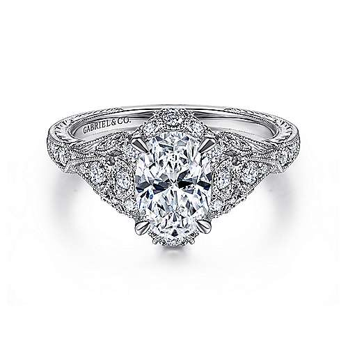 Gabriel - Annadale 14k White Gold Oval Halo Engagement Ring