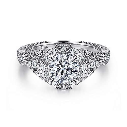 Gabriel - Annadale 14k White Gold Round Halo Engagement Ring