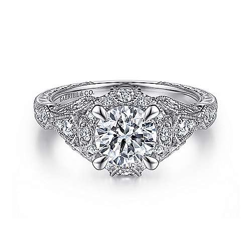 Gabriel - Annadale Platinum Round Halo Engagement Ring