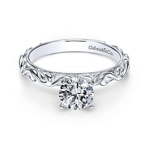 Gabriel - Anthea 14k White Gold Round Straight Engagement Ring