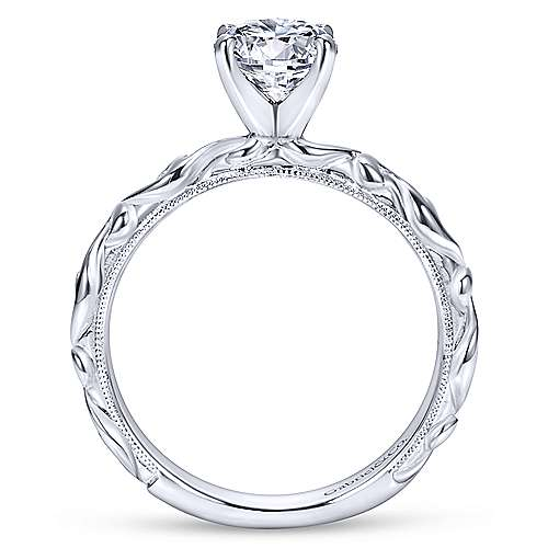 Anthea 14k White Gold Round Straight Engagement Ring angle 2