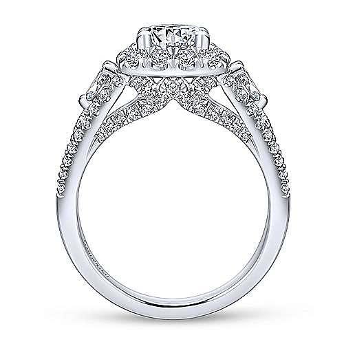 Anthos 14k White Gold Round Halo Engagement Ring angle 2
