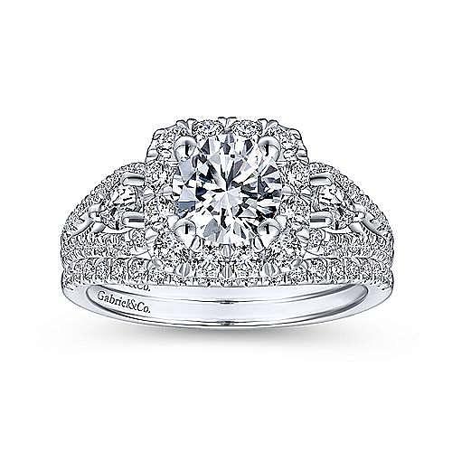 Anthos 14k White Gold Round Halo Engagement Ring angle 4