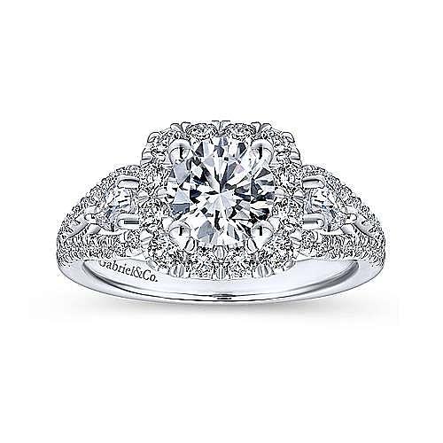 Anthos 14k White Gold Round Halo Engagement Ring angle 5
