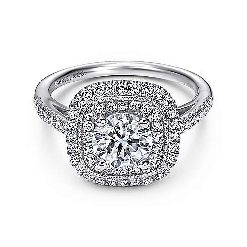 Antoinette 14k White Gold Round Double Halo Engagement Ring angle 1