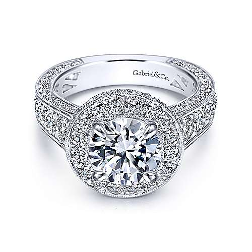 Antonia 18k White Gold Round Halo Engagement Ring angle 1