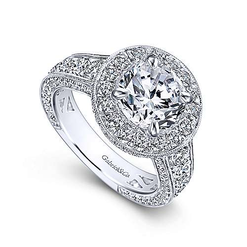 Antonia 18k White Gold Round Halo Engagement Ring angle 3