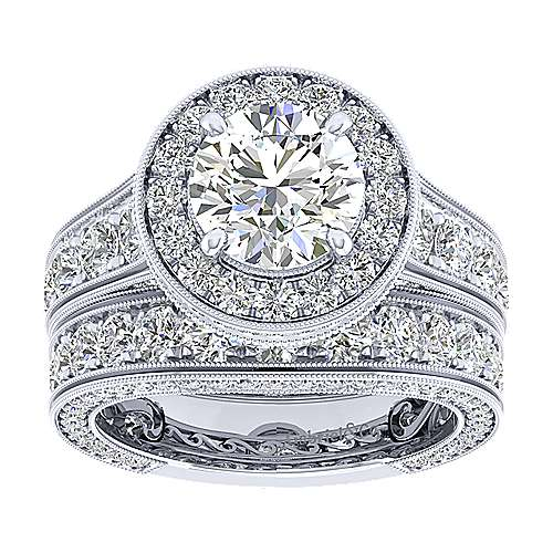 Antonia 18k White Gold Round Halo Engagement Ring angle 4