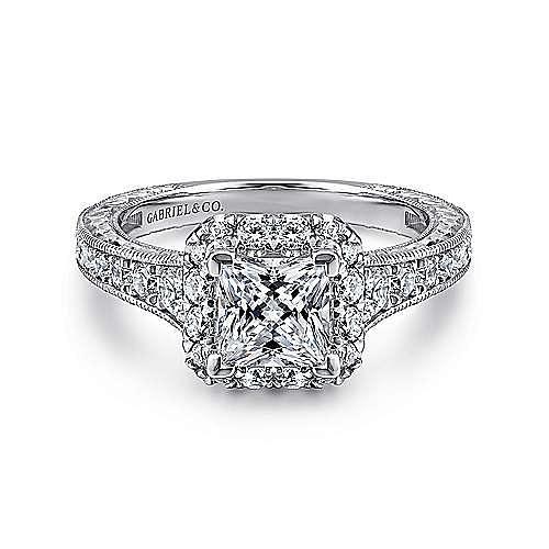 Gabriel - Anya 14k White And Rose Gold Princess Cut Halo Engagement Ring