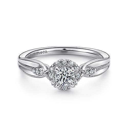 Gabriel - April 14k White Gold Round Halo Engagement Ring