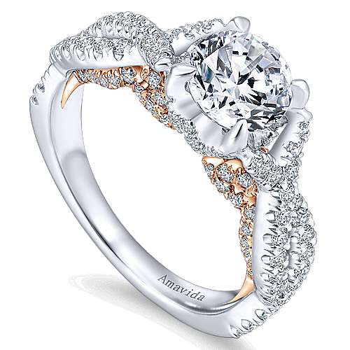 Aqua 18k White And Rose Gold Round Twisted Engagement Ring angle 3