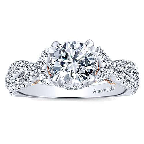 Aqua 18k White And Rose Gold Round Twisted Engagement Ring angle 5