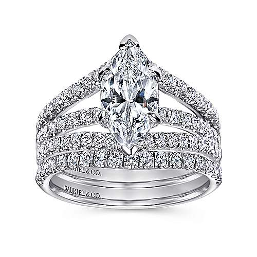 Aquila 14k White Gold Marquise  Split Shank Engagement Ring angle 4
