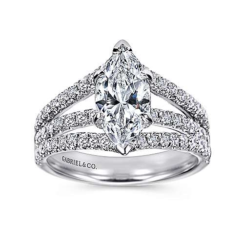 Aquila 14k White Gold Marquise  Split Shank Engagement Ring angle 5