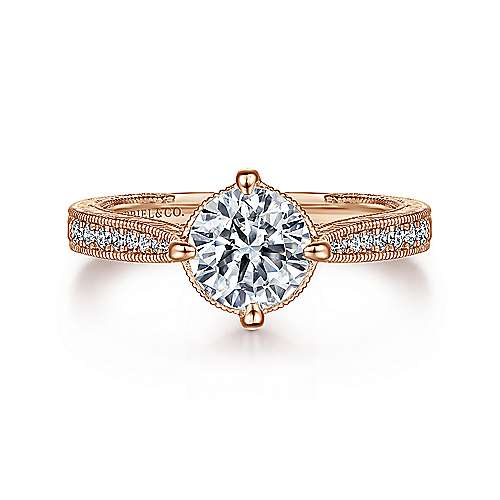 Arabella 14k Rose Gold Round Straight Engagement Ring angle 1