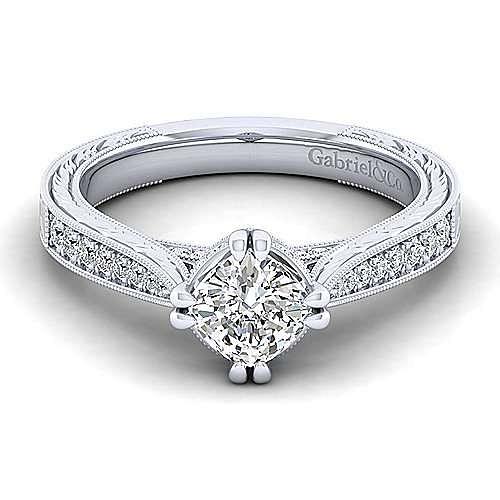 Gabriel - Arabella 14k White Gold Cushion Cut Straight Engagement Ring