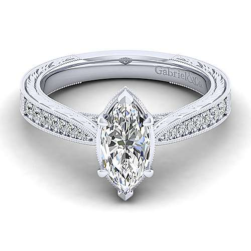 Gabriel - Arabella 14k White Gold Marquise  Straight Engagement Ring