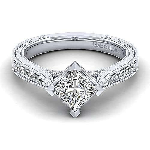 Gabriel - Arabella 14k White Gold Princess Cut Straight Engagement Ring