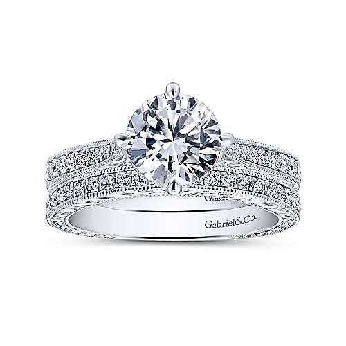 Arabella 14k White Gold Round Straight Engagement Ring angle 4