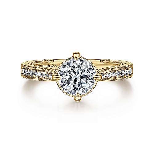 Arabella 14k Yellow Gold Round Straight Engagement Ring angle 1