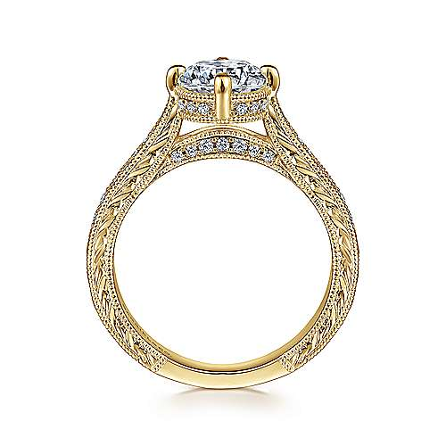 Arabella 14k Yellow Gold Round Straight Engagement Ring angle 2