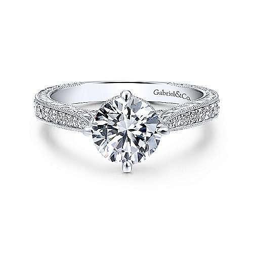 Gabriel - Arabella 18k White Gold Round Straight Engagement Ring