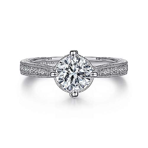 Gabriel - Arabella Platinum Round Straight Engagement Ring